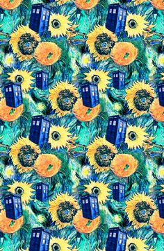 Starry Night + Sunflowers + TARDIS Art Print