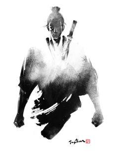 "Asian art just-art: "" Samurai: Artworks by Jungshan. Ronin Samurai, Samurai Warrior, Arte Ninja, Samurai Artwork, Samurai Drawing, Art Asiatique, Samurai Tattoo, Japan Art, Japan Japan"