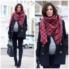Wool coat by Zara, maternity skinnies by JBrand, top by Topshop, new boots by Saint Laurent, old wool scarf and gloves from H and bag by Celine... Stripes on the belly so cute