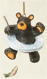 Ice Fishing Ornament Fish Ornaments, Christmas Ornaments, Winter Fishing, Ice Fishing, Big Sky, Woodcarving, Black Bear, Woodworking Projects, Bears