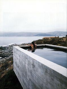 raised concrete pool