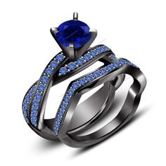 Blue Sapphire 3.25 CT Round 925 Silver Bridal Set Black Gold FN With Twist Shank #aonejewels