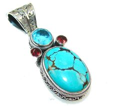 $67.85 Gentle Blue Turquoise Sterling Silver Pendant at www.SilverRushStyle.com #pendant #handmade #jewelry #silver #turquoise