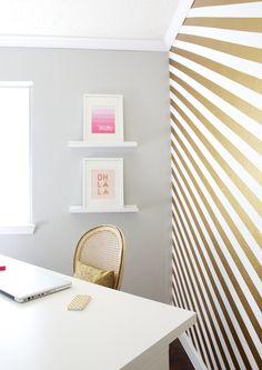Shalyn S Paint It Gold Worke Striped Walls Wallpaper