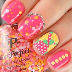 Yellow & Pink polkadot floral using Salon Perfect Mod About You Instagram media by lifeisbetterpolished #nail #nails #nailart