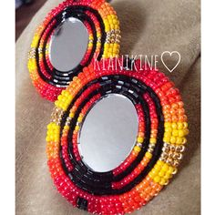 Native American Beaded Earrings: Oval Set