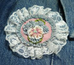 Vintage Lace Ribbon Flower Brooch by ConeldasCreations on Etsy, $20.00