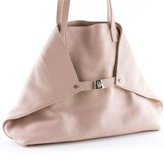 """Pre-Owned Akris AI Small Messenger Tote crafted in pink pastel leather and has a sleek and geometric look designed by Albert Kreimler. This beautiful bag is flirty yet functional, with its spacious interior, this 'A' frame tote is perfect for bringing unique style to an everyday use. Material: Leather Made In: Romania Hardware: Metal Measurements: 9.5"""" (H) x 13"""" (W) x 3"""" (D) x 9"""" (DR) Exterior Condition: Excellent Interior Condition: Excellent"""