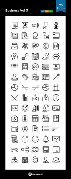 Business Vol 3  Icon Pack - 70 Line Icons