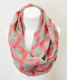 Love this Leto Collection Coral & Light Gray Diamond Infinity Scarf by Leto Collection on #zulily! #zulilyfinds
