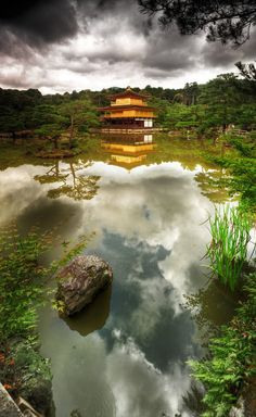 Kinkakuji, Kyoto, Japan - July 2012, 3rd trip to Japan visiting family. Kyoto was new on the destination list. This sight, the golden temple was the most beautiful place. I felt like I was (finally) in Japan as I thought it should be. One of the top locations in all my travels.