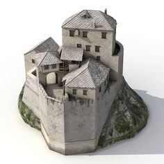 Old Castle on the Hill Model available on Turbo Squid, the world's leading provider of digital models for visualization, films, television, and games. Minecraft Medieval, Medieval Castle, Tower House, Castle House, Architecture Old, Historical Architecture, Small Castles, Fantasy Castle, Mountain Village