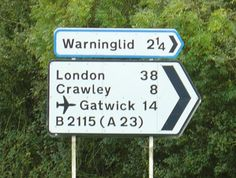 The strategic signing here directs northbound traffic (London, Crawley, Gatwick Airport) onto a more direct route to the A23, rather than through Staplefield (on the B2114). Description from geograph.org.uk. I searched for this on bing.com/images