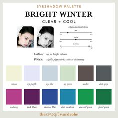 If you have just discovered that you are a Bright Winter in the seasonal colour analysis, find out what the best Bright Winter make-up colours are. Makeup Palette, Eyeshadow Palette, Bright Eyeshadow, Best Workwear, Blue Eye Color, Vetements Clothing, Clear Winter, Wintry Weather, Seasonal Color Analysis
