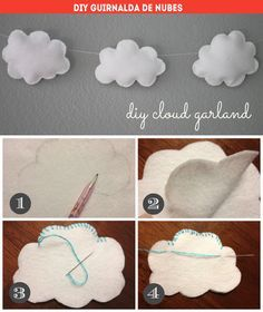diy in another language- but the concept is simple, sew little clouds out of felt and string together.  Would be a perfect manner to hang behind sleeping baby.