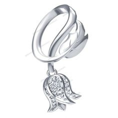 925 Sterling Silver Round Cut Diamond Rose Shape Pendant Women's Gift Free Pouch…