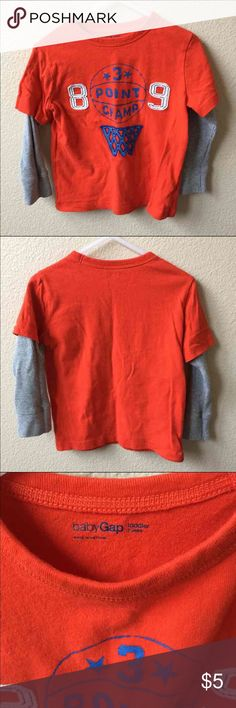 3-Point Champ Basketball Longsleeve Stylish t-shirt with longsleeves attached. Only worn once, still in excellent condition. Great for everyday wear or playtime. Cool and casual. BabyGap. Baby Gap Shirts & Tops Tees - Long Sleeve