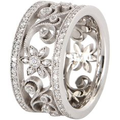 Pre-Owned Vintage 1ct Diamond Flower Eternity Ring 14k White Gold ($2,695) ❤ liked on Polyvore