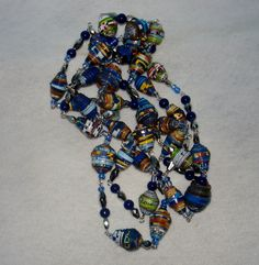 Blue Multicolored Hand Rolled Paper Bead Necklace with by Tarkau