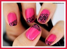 pink nail designs for short nails designs