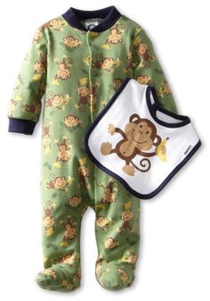 Amazon.com: Gerber Baby-boys Newborn Monkey Sleep N Play Clothing Set With Bib: Clothing
