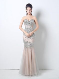 Mermaid Sleeveless Sweetheart Crystal Organza Floor Length Dresses