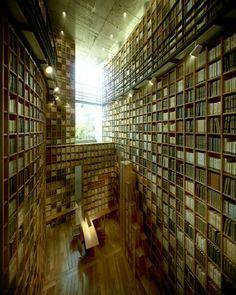 Library designed by Tadao Ando for the Shiba Ryotaro Memorial Museum in Osaka (2001).
