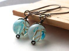 Antiqued brass aqua blue glass beaded earrings