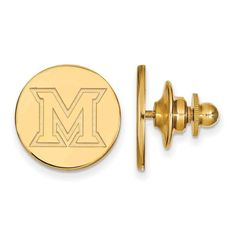 Sterling Silver w/GP LogoArt Miami University Lapel Pin