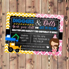 Twin or Sibling Birthday Party Invite - Diggers and Dolls - Trucks and Tutus - Printable File by CreativeKittle on Etsy