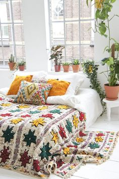 We love this bohemian bedroom.