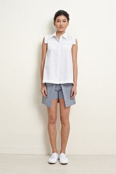 Polka White Cotton Shirt with Asymmetrical Length by garylindesign, $80.00