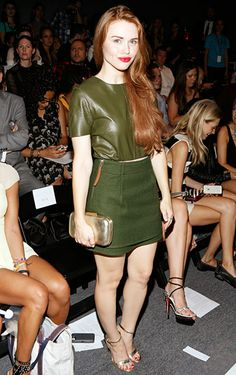 <3 Holland's red hair with this olive green leather top + skirt!