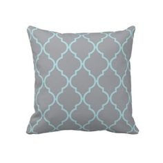 Amazon.com - Gray and Blue Quatrefoil Pattern Cute Style Pillow Cover 18x18, Pillow Cases, Decorative Throw Pillow Covers, Cushion Covers