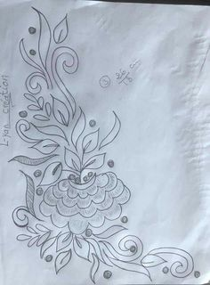 Hand Embroidery Design Patterns, Hand Embroidery Tutorial, Folk Embroidery, Embroidery Stitches, Motifs Perler, Fabric Embellishment, Butterfly Drawing, Flower Sketches, Handmade Wire Jewelry
