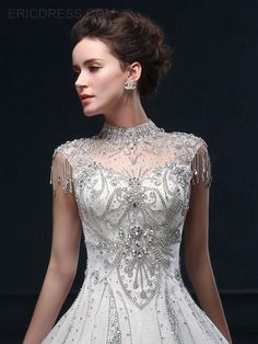 Ericdress Luxury High Neck Chapel Train Wedding Dress 4