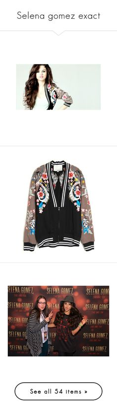 """Selena gomez exact"" by miss-selenators ❤ liked on Polyvore featuring outerwear, jackets, coats, coats & jackets, floral print jacket, lined bomber jacket, flower print bomber jacket, floral jacket, multi-color leather jackets and tops"