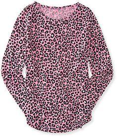 Aeropostale Kids Ps Girls' Long Sleeve Leopard Tee Shirt