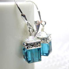 Teal Earrings Blue Topaz Swarovski Crystal Cube by fineheart