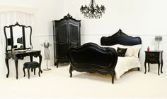 b for bel: New Room, New Life on We Heart It Black Bedroom Sets, Black Bedroom Furniture, Bedroom Decor, Bedroom Scene, White Bedroom, Bedroom Ideas, Master Bedroom, Victorian Bedroom, Gothic Home Decor