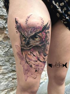 owl tattoo done by Mo Mori
