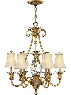 Plantation 6 Light Chandelier With Silk Shades