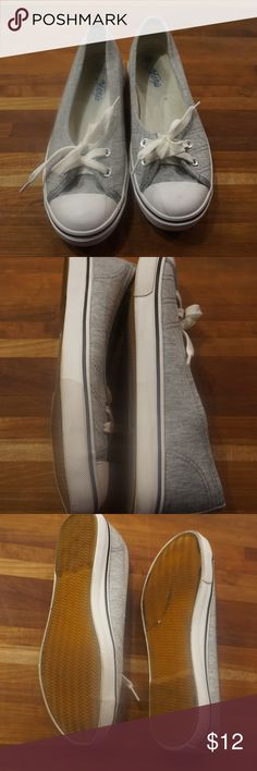 Womans Slip on sneaker, Gray, size 250 asian size Cute slip on sneaker. These are Asian size 250 which is an 8 in American size.  They have been briefly worn but over all good condition. Shoes Sneakers