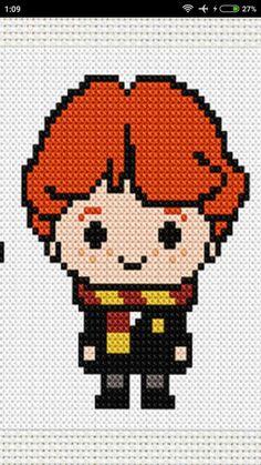 Cross Stitch Borders, Cross Stitch Designs, Cross Stitching, Cross Stitch Embroidery, Embroidery Patterns, Cross Stitch Patterns, Harry Potter Perler Beads, Harry Potter Crochet, Ron Weasley