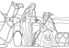Rebekah gives water to Abraham's servant. (Not sure why this is in a Zacchaeus coloring page gallery, but I like it anyway.) One of my favorite Bible stories! ~ Sheila :) #Bible #coloringpages