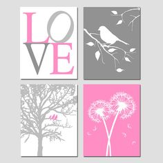 Pink and Gray Nursery Art Nature Theme Set of Four by Tessyla