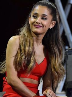 """Lady in red. A festive Ariana Grande shares her favorite holiday and GRAMMY moments backstage at the taping for """"A Very GRAMMY Christmas"""" on Nov. 18 in Los Angeles. Ariana Grande 2014, Ariana Grande Photos, Ariana Grande Dangerous Woman, Avicii, Celebs, Celebrities, Celebrity Hairstyles, Role Models, Lady In Red"""