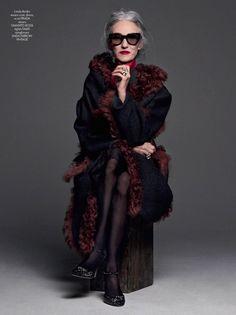 Fashion Editorial ~ Johnny Dufort (Photographer) for CR Fashion Book 8, Linda Radin (Model), Prada (coat, dress, scarf) Gianvito Rossi (shoes)