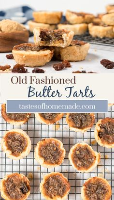 These old fashioned butter tarts are a Canadian classic. A rich filling of brown sugar, butter and raisins is surrounded by a flaky pastry shell. Decedent and delicious, they are a holiday favourite. Best Butter Tart Recipe, Peanut Butter Filling, Köstliche Desserts, Delicious Desserts, Dessert Recipes, Cookie Recipes, Holiday Baking, Christmas Baking, Retro Christmas
