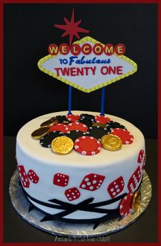 21st birthday casino Las Vegas themed cake playing cards poker
